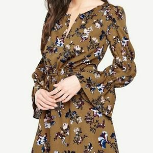 Ann Taylor Olive Green Floral Bell Sleeve Dress S